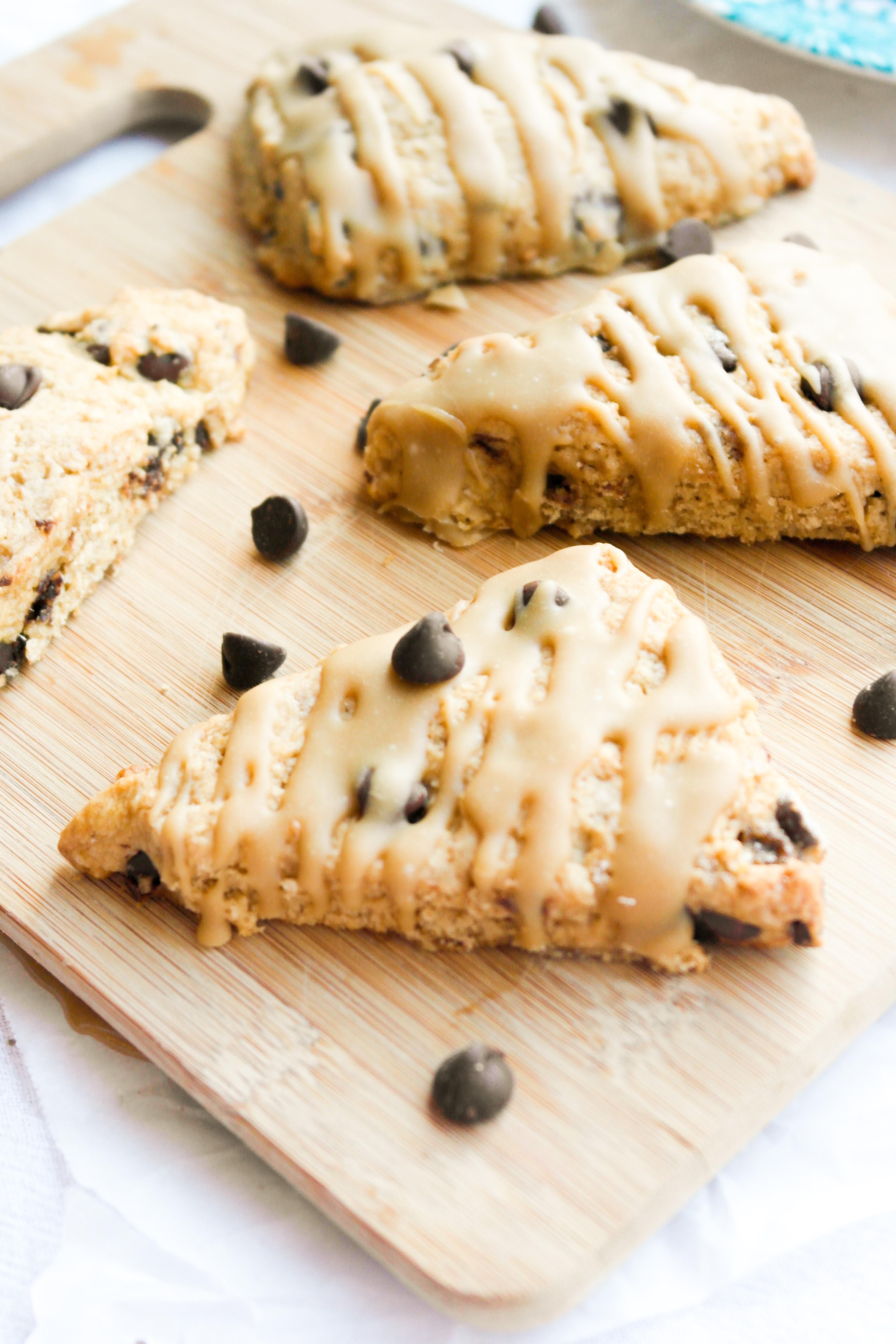 Chocolate Chip Scones + Caramel Glaze – Baking Is A Science