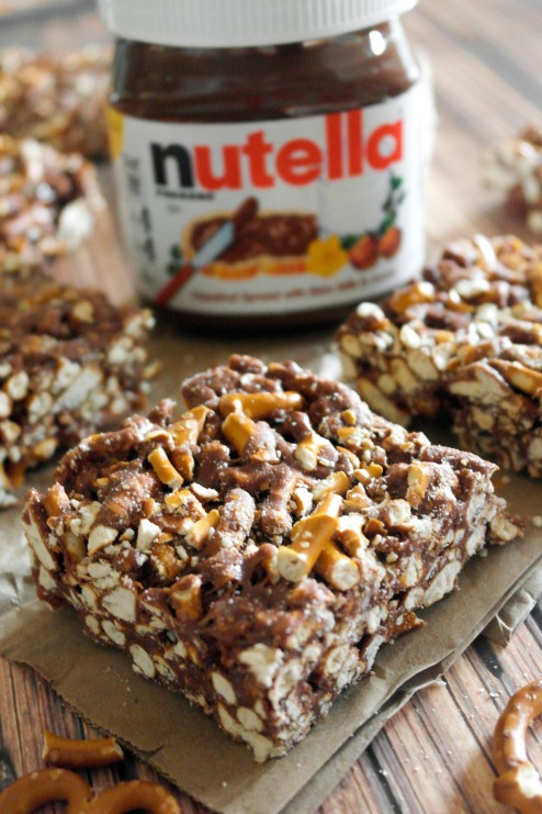 Nutella Pretzel Marshmallow Bars